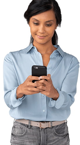 Woman holding phone seeking help for primary axillary hyperhidrosis.